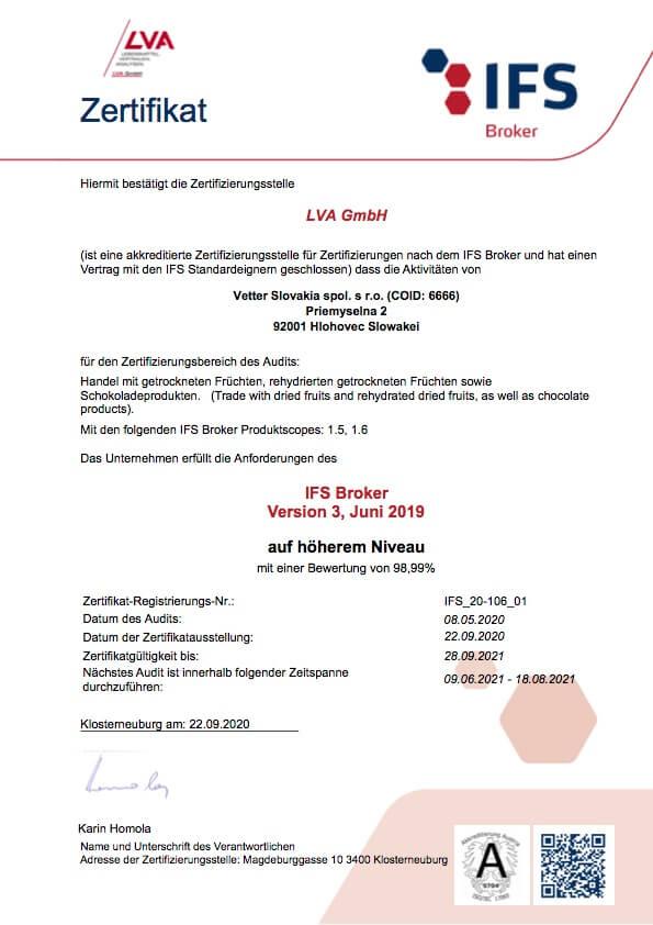 IFS Broker Zertifikat  Vetter Slovakia | FruTree